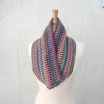 Crocheted Cowl Scarf, Striped, Women & Teen Girls, Western Boho