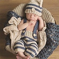 Newborn Photography Props Infant Crochet Knitted Costume Set Elf Button Pants+Beanie Caps Hat 2pcs Baby Striped Soft Outfits Set
