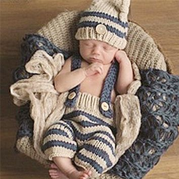 9efd4307920 Newborn Photography Props Infant Crochet Knitted Costume Set Elf