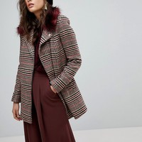 River Island Check Faux Fur Collar Coat at asos.com