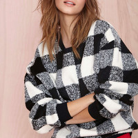 Black And White Checkered Fleece Sweatshirt