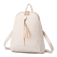 Fashion Zipper Tassel Beautiful Mosaic Backpack Totes