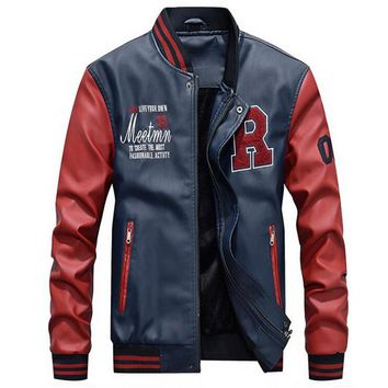 Jacket Men Embroidery Baseball Jackets Pu Faux Leather Coats Slim Fit Zipper Casual College Luxury Fleece Pilot Leather Jackets