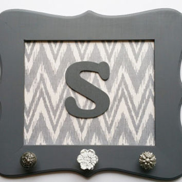 Decorative Wall Hooks, Gray Chevron, Gray Ikat, Antiqued Knobs, Letter S