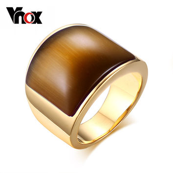 Vnox Fashion Stainless Steel Rings for Women Party Jewelry Big Stone Wedding Rings Golden Jewelry