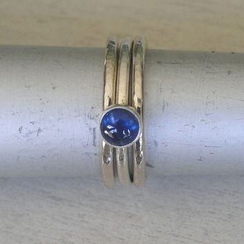 Blue Sapphire and Hammered Sterling Silver Stacking Rings - Set of 3 - Bezel set grade AA Sapphire on a .925 Sterling Silver Band