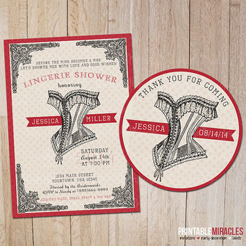 Bachelorette party Lingerie shower invitation, Vintage bridal shower invitation, Digital printable lace corset party invite / red black