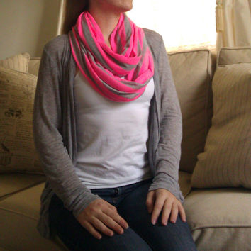 SHIPS NOW -- Nursing Scarf / Infinity Scarf / Nursing Cover - Pretty Neon Pink & Heather Gray Stripes Jersey Knit - 30 x 60 inches