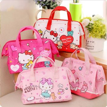 Hello Kitty Insulated Lunch Box Bag, Cartoon Cute Handbag, Easy Bag, Portable Student Waterproof Lunch Box Bag