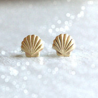 Tiny Brass shell stud earrings - Brass stud earrings with sterling silver posts - shell earrings - mermaid earrings