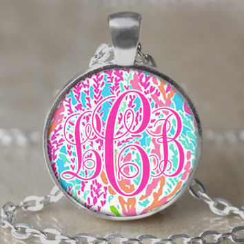Personalized Monogrammed Lilly Pulitzer Inspired Necklace