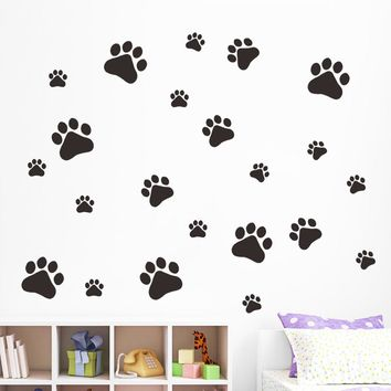 Dog Footprints Vinyl Wall Sticker Art Wall Decals Home Decor For Kids Bedroom New Creative Design Happy Gifts Pegatinas De Pared