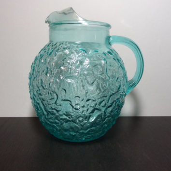 Vintage Retro Anchor Hocking Lido Milano Aqua or Turquoise Blue Glass Pitcher