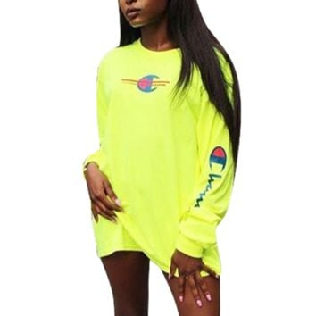 Champion Fashion New Bust Logo Print And Sleeve Letter Print Leisure Long Sleeve Top Dress Yellow