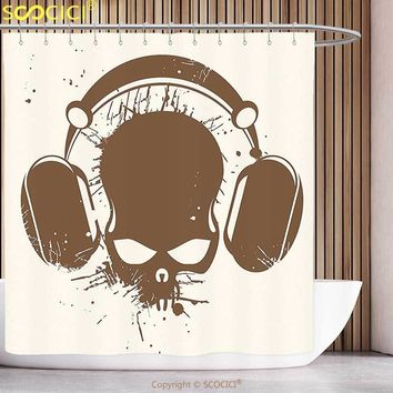 Stylish Shower Curtain Music Skull with Headphones Listening Dead DJ Grunge Retro Style Graphic Print Light Caramel Cream