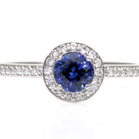 14K Blue Sapphire Engagement Ring White Sapphire Halo Sapphire Ring Handmade Engagement