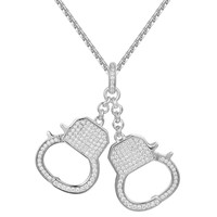 14k White Gold Finish Handcuff Iced Out Charm Necklace