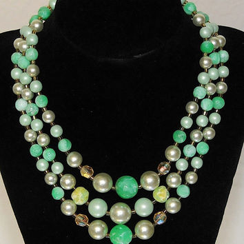 Vintage Signed Japan 1950's Multi Strand Mint Green and Pearl Necklace