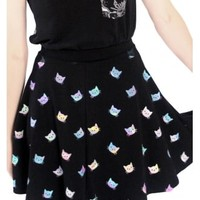 Fearless Illustration Weird Girl Party Skater Skirt | Attitude Clothing