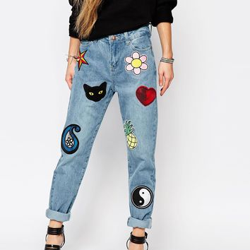 Liquor & Poker Patch Denim Jeans at asos.com