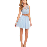 Sequin Hearts Daisy Lace to Mesh 2-Piece Dress | Dillards
