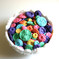 Edible Vintage Candy Buttons 200 Bright Pop Colors / All of our Buttons are vegan, but no soy