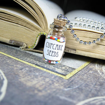 Cupcake Seeds 1ml Glass Bottle Necklace - Cork Vial Charm