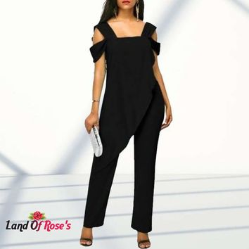 Plus-Size High Waist Slim Sleeveless Jumpsuits Solid Casual Cold Shoulder Irregular Pencil Jumpsuit Rompers