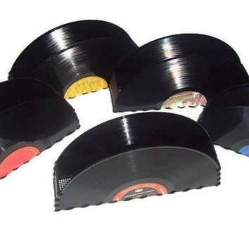 Recycled Record Container for Accessories, Vintage Home Decor, Desk Office Accessories