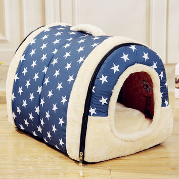 Hot!!!Multifuctional Dog House Nest with Mat Foldable Pet Dog Bed Cat Bed House