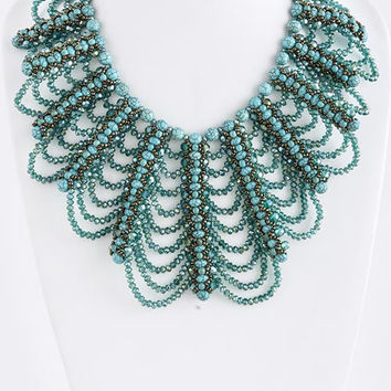 The Savannah Turquoise Stone Beaded Bib Necklace