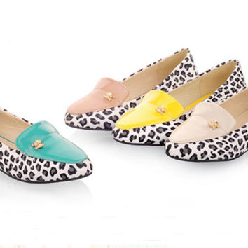 New arrivel women shoes Casual flats shoes Slip-On Pointed Toe fashion Leopard shoes comfortable spring autumn shoes