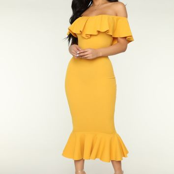 Moments Like This Ruffle Dress - Mustard