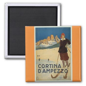 Cortina D'Ampezzo Vintage Skiing Poster Magnet