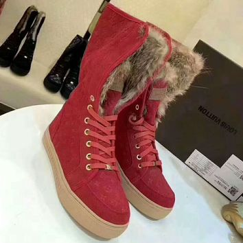 LV Women Casual High Tops Print Wool Flats Shoes Boots G-GCXGCFH-GC