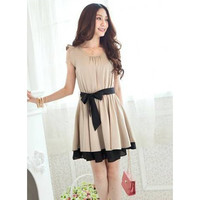 Khaki Flounce Dress with Belt