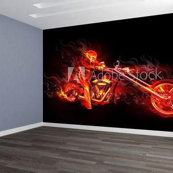 Flames Skull n Chopper Motorcycle Custom Designed Wallpaper Peel and Stick