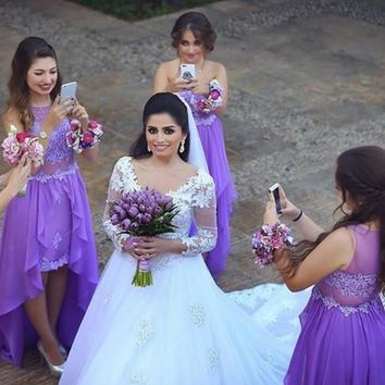 Beach Lavender Bridesmaid Dresses Short Front And Long Back Chiffon Sheer Back Appliques High Low Formal Party Gowns