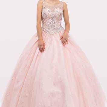 Blush Scoop Jeweled Bodice Lace Up Back Mesh Quinceanera Dress