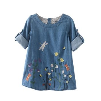 Spring Children Denim Dress Kid Girls Dragonfly Flower Embroidery Fresh Denim Dresses