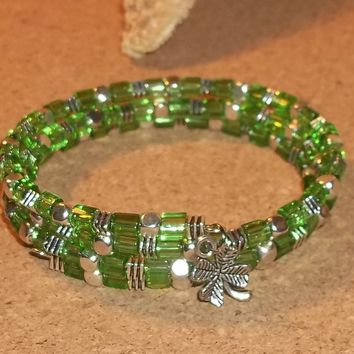 Green Square Glass & Tibetan Silver Hand Crafted Wrap Bracelet w/ Clover Charm Dangle