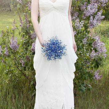 Limited Edition - Bridal Bouquet of Beautiful Blue & Silver Mirrored Beads - Fabulous Brooch Bouquet Alternative