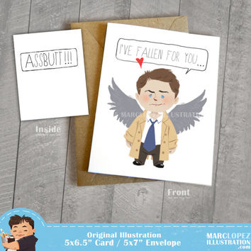 Castiel I've Fallen For You Assbutt Card,  Supernatural Fan Art, Approximately 5 x 7 Blank Card, Kraft Envelope, Misha Collins, Angel Art