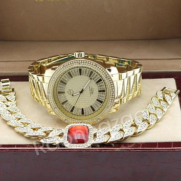 Men Iced Out 14K Gold PT Big Face Watch Ruby Cuban Chain Bling Bracelet Set F64G
