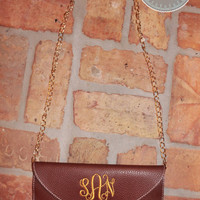 Monogrammed Clutch Purse with Crossbody Chain - Brown