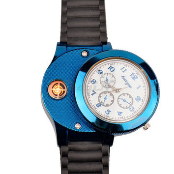 Windproof Cigarette Lighter Watch 2 Styles