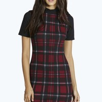 Susan Tartan High Neck Shift Dress