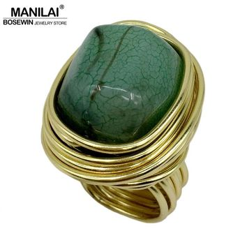 MANILAI Fashion Jewelry Wire Spiral irregularity Ice crack Resin Handmade Rings Women Vintage Finger Rings Party Accessories