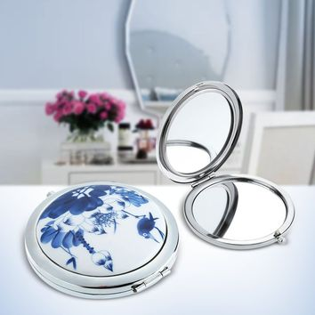 Stainless Travel Hand-pained Blue and White Ceramic Lotus Compact Pocket Folding Makeup Cosmetic Magnifying Mirror Fashion Makeu