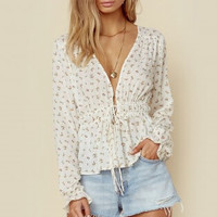 SWISS DOT ELIZA DRAWSTRING TOP